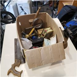 BOX OF VINTAGE TOOLS AND BRASS TORCH