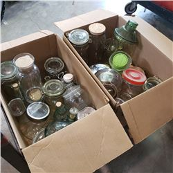 TWO BOXES OF GLASS JARS AND DECANTERS