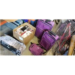 BOX OF KITCHEN APPLIANCES, PURPLE LUGGAGE AND SHOWER CADDY
