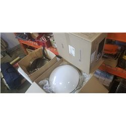 BOX OF POTS AND 2 RAE CEILING LIGHTS