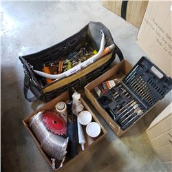TOOL BAG WITH CONTENTS AND BOX OF SHOP SUPPLIES
