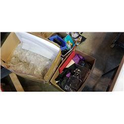 BOX OF BAGS, ETC