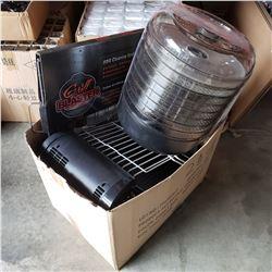 BOX OF DEHYDRATOR, DISH RACKS, GRILL CLEANER, ETC