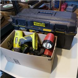 POWER TOOLS AND TOOL BOX WITH CONTENTS
