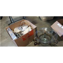 BOX OF BAKING PANS, DECOR, GLASS CENTERPIECE