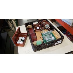 TRAY OF NEW CUTLERY, WINE STOPPERS, DISPLAY CASE, ETC