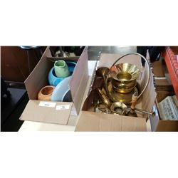 BOX OF BRASS COLLECTIBLES AND POTTERY ITEMS