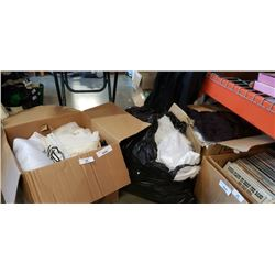 2 BOXES AND BAG OF WEDDING DRESSES