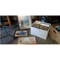 BOX OF NEEDLEPOINT AND OTHER PICTURES