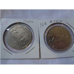 5 CANADIAN DOLLAR COINS 1968 AND 1975