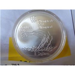 1976 MONTREAL OLYMPIC GAMES $5 SILVER COIN 925 SILVER 24.3 GRAMS SERIES V THE DIVER IN CASE
