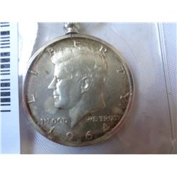 JOHN F KENNEDY 50 CENT .900 SILVER COIN KEY RING