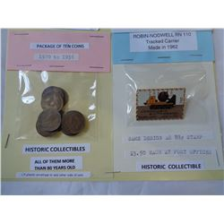 PACKAGE  OF 10 GEORGE V 1 CENT COINS AND CANADA  POST PIN