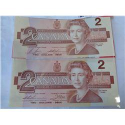 2  1986  2 DOLLAR BILLS