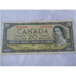 1954 CIRCULATED CANADIAN $20 BILL
