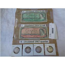 1954 CANADIAN 1 AND 2 DOLLAR BILLS W/ 3 CANADIAN CENTENNIAL QUARTER 1867-1967