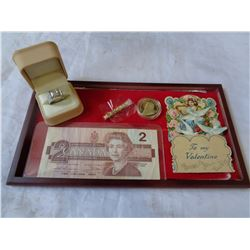 1986 CANADA 2 DOLLAR BILL, RING, TOKEN AND FOIL