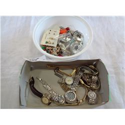 TRAY OF WATCHES AND JEWELLERY