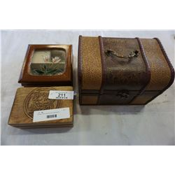 2 WOODEN JEWELLERY BOXES W/ CONTENTS AND MINI CHEST W/ JEWELLERY