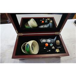 JEWELLERY BOX W/ BANGLES AND CONTENTS