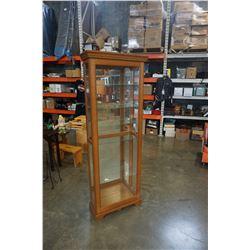 PULASKI FURNITURE GLASS DISPLAY CABINET - APPROX 79 INCHES TALL