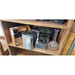 SHOE POLISH KIT, CANNISTERS AND DECANTER
