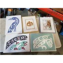 LOT OF NATIVE PRINTS AND PICTURES