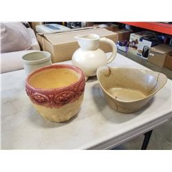 MEDALTA BOWL, SMALL CROCK, AND POTTERY PITCHER AND BOWL