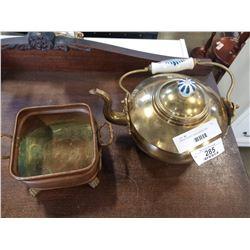BRASS TEAPOT AND COPPER TRAY