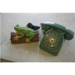 VINTAGE ROTARY PHONE AND FROG PHONE