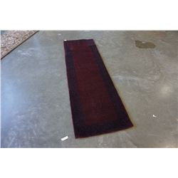 2 FOOT 7 INCH X 8 FOOT 2 INCH WOOLEN HAND TUFTED CARPET RUNNER RED