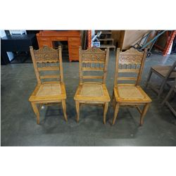 3 PRESS BACK CHAIRS
