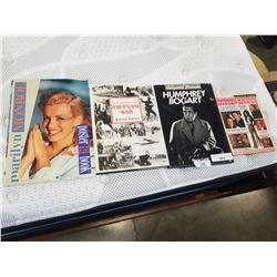 MARILYN MONROE VINTAGE POSTER BOOK, VIETNAM , AND HUMPHREY BOGART COFFEE TABLE BOOKS