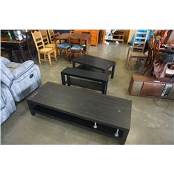 2 BLACK IKEA COFFEE TABLES AND STAND