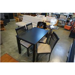 MODERN DINING TABLE AND 4 CHAIRS W/ MICROFIBER SEATS