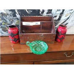 2 GERMAN VASES, GREEN GLASS DISH, AND VINTAGE  INLAID ORGANIZER