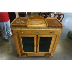 ANTIQUE MAPLE DISPLAY CABINET W/ LIFT TOP AND 2 DRAWERS