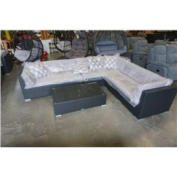 """BRAND NEW OUTDOOR RATTAN SECTIONAL 114""""x89"""", ALUMINUM FRAME, LIGHT GREY CUSHIONS W/ GLASS TOP COFFEE"""