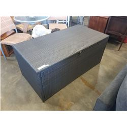 BRAND NEW OUTDOOR RATTAN PATIO STORAGE BOX W/ WATERPROOF LINER AND HYDRAULIC LID - RETAIL $499