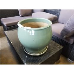 LARGE GREEN POTTERY PLANTER