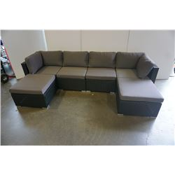 BRAND NEW RATTAN OUTDOOR 6 PIECE MODULAR SECTIONAL SOFA AND COFFEE TABLE W/ DARK GREY CUSHIONS - RET