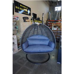 BRAND NEW MODERN RATTAN OUTDOOR DOUBLE HANGING CHAIR W/ CHARCOAL CUSHIONS - RETAIL $2199 AND RATED F