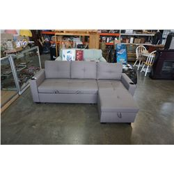BRAND NEW GREY FABRIC SECTIONAL SOFA W/ PULL OUT BED AND STORAGE CHAISE - RETAIL $1899
