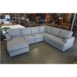 BRAND NEW LIGHT GREY FABRIC 5 PIECE MODULAR AND REVERSIBLE SECTIONAL SOFA - RETAIL $3699