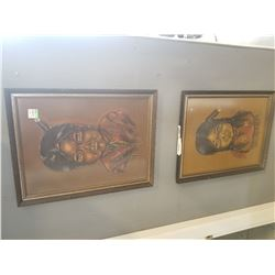 PAIR OF ARTIST SIGNED OIL ON FELT PORTRAITS OF NATIVE YOUTH