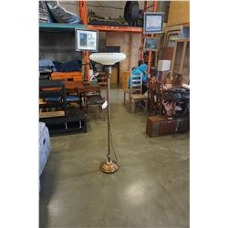 BRASS TORCHIERE FLOOR LAMP W/ SHADE