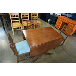 DUNCAN PHYFE DROP LEAF DINING TABLE W/ 3 CHAIRS