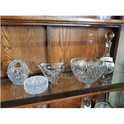 CRYSTAL DECANTER, BOWL, AND BASKETS