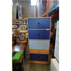 IKEA BLUE AND MAPLE CABINET WITH ROLL UP DOOR