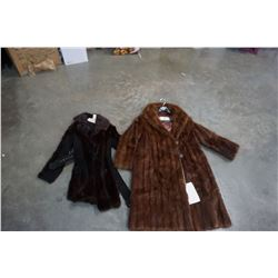 HUDSONS BAY CO MUSKRAT COAT AND HUDSONS BAY LEATHER AND FUR COAT